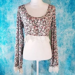 Gypsy Warrior Boho Roses Floral Lace Crop Top